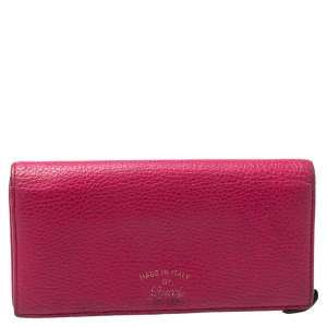Gucci Magenta Leather Swing Continental Wallet