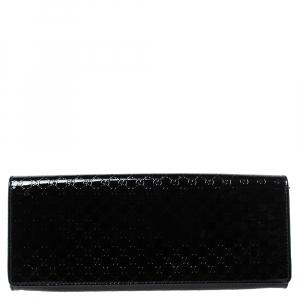 Gucci Black Guccissima Patent Leather Small Broadway Clutch