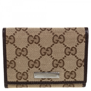 Gucci Beige/Brown GG Canvas and Leather Flap Card Holder