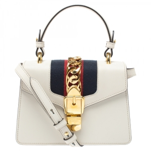 Gucci Cream Leather Mini Web Sylvie Shoulder Bag