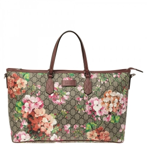 Gucci Multicolor Blooms GG Supreme Canvas and Leather Zip Tote