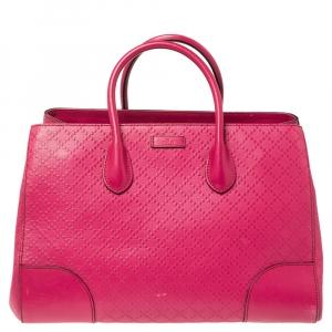 Gucci Magenta Diamante Leather Shopper Tote