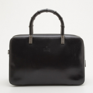 Gucci Black Leather Bamboo Top Handle Boston Bag