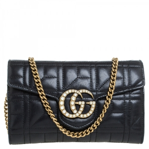 Gucci Black Matelasse Leather Mini GG Marmont Pearly Shoulder Bag