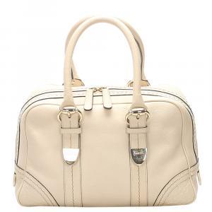 Gucci Cream Leather Boston Bag