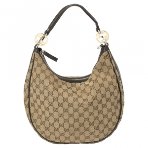 Gucci Beige/Brown GG Canvas and Leather Medium GG Twins Hobo