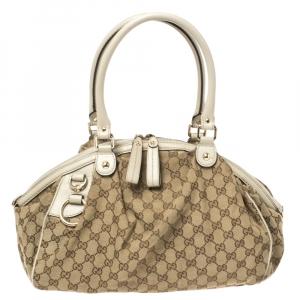 Gucci Beige/Cream GG Canvas and Leather Medium Sukey Hobo
