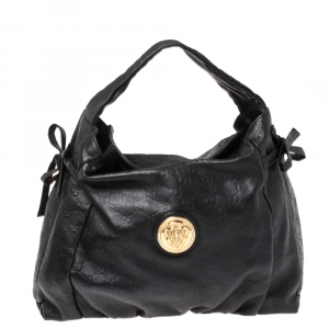 Gucci Black Guccissima Leather Medium Hysteria Hobo