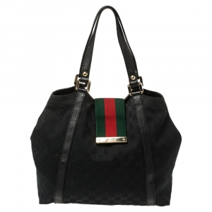 Gucci Black GG Canvas and Leather Medium Web New Ladies Tote