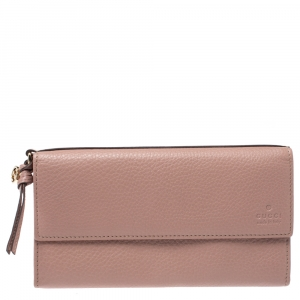 Gucci Old Rose Leather Bree Continental Wallet