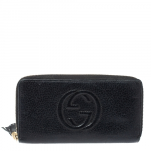 Gucci Black Leather Soho Zip Around Wallet