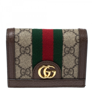 Gucci Beige/Brown GG Supreme Canvas and Leather Ophidia Web Compact Wallet