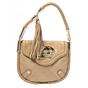 Gucci Beige Guccissima Leather Britt Tassel Shoulder Bag