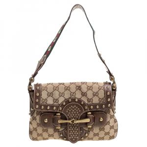 Gucci Brown/Beige GG Canvas Studded Pelham Runway Flap Bag