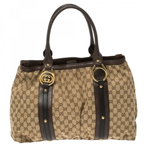 Gucci Beige/Brown GG Canvas and Leather Large Interlocking G Tote