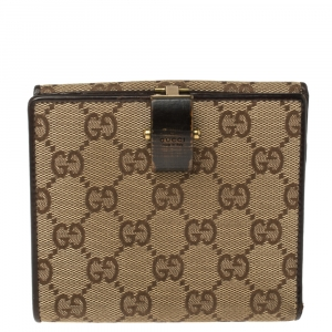 Gucci Beige/Brown GG Canvas and Leather French Flap Wallet