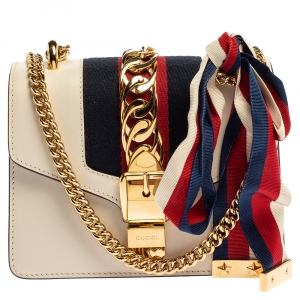 Gucci Off White Leather Mini Web Chain Sylvie Shoulder Bag