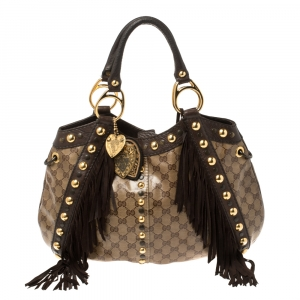 Gucci Brown/Beige GG Crystal Canvas and Leather Fringe Babouska Shoulder Bag