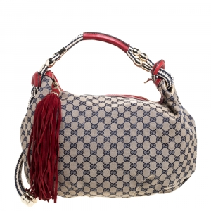 Gucci Red/Beige GG Canvas and Leather Medium Acapulco Hobo