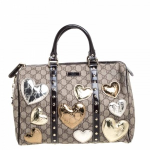 Gucci Dark Brown/Beige GG Supreme Canvas and Patent Leather Medium Hearts Joy Boston Bag