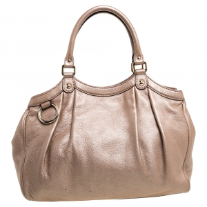 Gucci Metallic Beige Leather Medium Sukey Tote