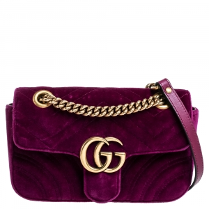 Gucci Purple Velvet Small GG Marmont Shoulder Bag