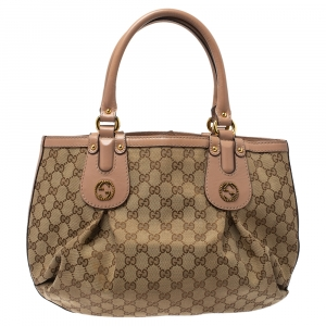 Gucci Beige/Blush Pink GG Canvas and Leather Small Interlocking G Scarlett Tote