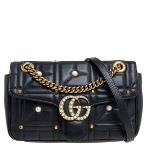 Gucci Black Leather Small GG Marmont Pearly Shoulder Bag