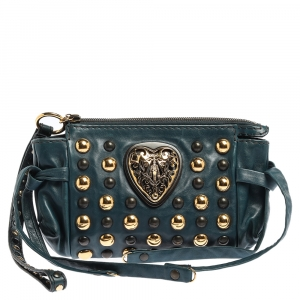 Gucci Teal Leather Studded Babouska Hysteria Clutch