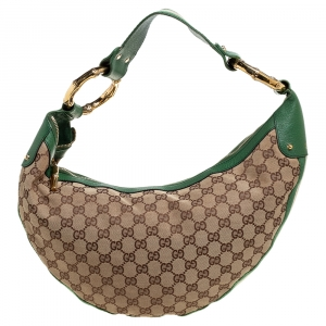 Gucci Beige/Green Canvas and Leather Bamboo Ring Hobo