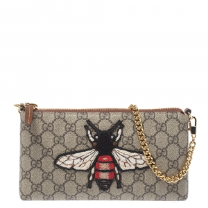 Gucci Beige GG Supreme Canvas Linea Bee Chain Clutch