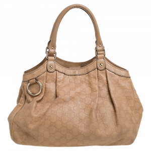 Gucci Beige Guccissima Leather Medium Sukey Tote