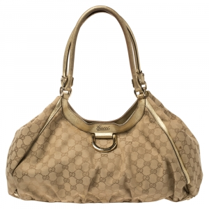 Gucci Beige/Gold GG Canvas and Leather Large D Ring Shoulder Bag