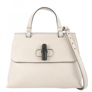 حقيبة غوتشي ديلي بامبو جلد أبيض محبب
