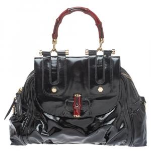 حقيبة غوتشي يد علوية بامبو ديالوكس بوب جلد لامعة ونايلون مقوى سوداء