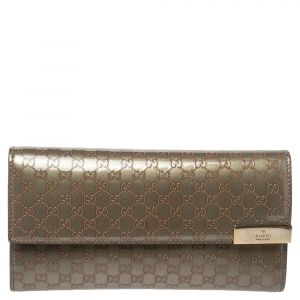 Gucci Beige Microguccissima Patent Leather Dice Continental Wallet