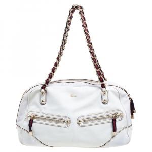 حقيبة ساتشل غوتشي سلسلة كابري جلد بيضاء