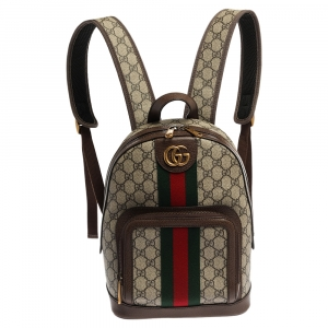 Gucci Beige/Ebony GG Supreme Canvas and Leather Small Ophidia Backpack