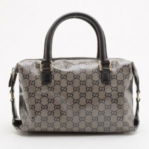Gucci Grey Crystal Lame Joy Boston Satchel