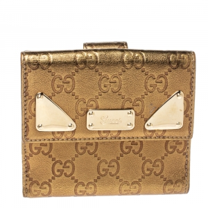 Gucci Metallic Gold Guccissima Leather French Flap Wallet