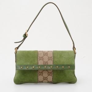 Gucci Monogram GG and Green Suede Pochette