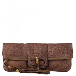 Gucci Brown Python Leather Bamboo Lucy Clutch