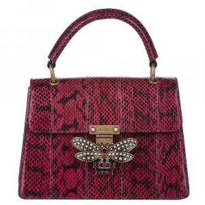 Gucci Red Python Leather Queen Margaret Bag