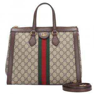 Gucci Brown GG Supreme Canvas Ophidia Medium Satchel