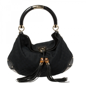 Gucci Black GG Canvas and Leather Large Indy Hobo