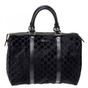 Gucci Black GG Calfhair and Leather Medium Boston Bag