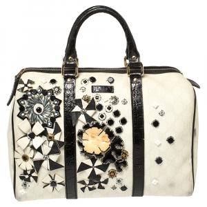 Gucci White/Black GG Supreme Canvas and Croc Embossed Leather Medium Joy Applique Boston Bag