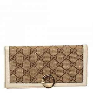 Gucci Brown GG Canvas and Leather G Continental Wallet