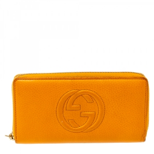 Gucci Orange Leather Soho Zip Around Wallet