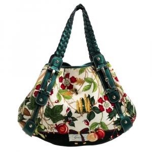 Gucci Multicolor Floral Print Velvet and Leather Medium Pelham Shoulder Bag